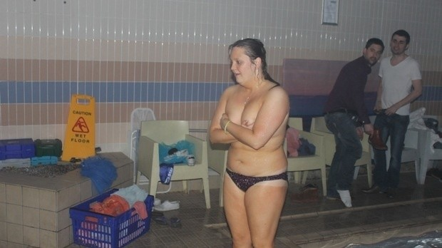 Drunk girl nude pool party