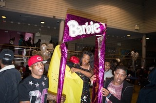 Competitors emerging from a Barbie box in the female figure face galactic barbie category