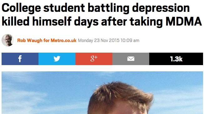 Media Outlets Are Trying to Blame a Sixth-Form Student's Suicide on an MDMA Comedown