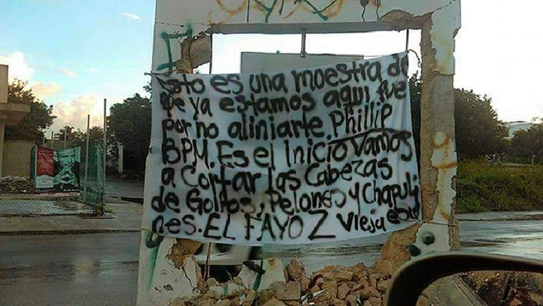 El nombre de BPM aparece en una narcomanta en Playa del Carmen