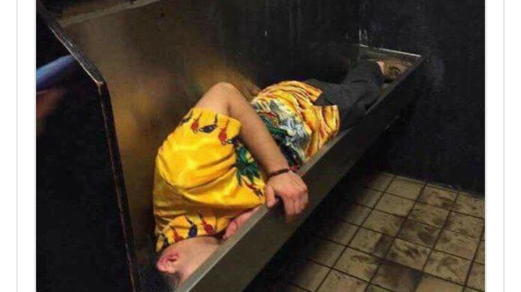 Some Guy Got So Drunk This Weekend He Passed Out in a Urinal